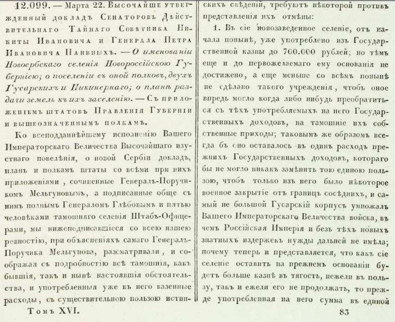 Указ Екатерины Великой о создании Новороссии